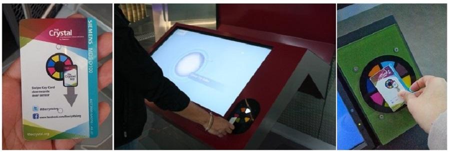 На входе посетители получают RFID-tagged карту, позволяющую активировать экспонаты выставки. Идея состоит с том, что «оживляя» экспонат, посетитель получает кристалл того цвета, который соответствует данной зоне. Собранные кристаллы являются цветными индикаторами, показывающими, какие зоны вы уже посетили, и помогают легко ориентироваться на выставке.